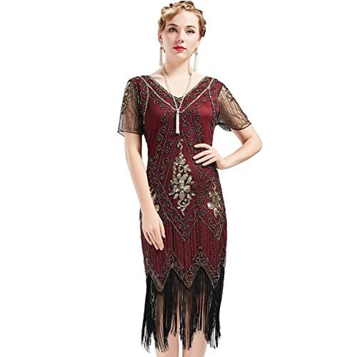 cf8ade18af7254 BABEYOND 1920s Art Deco Fringed Sequin Dress 20s Flapper Gatsby Costume  Dress