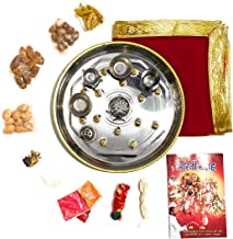 Pooja Thali, aarti Collection, red Velvet thali Cover, Basic Pooja Items (supari, badam, haldi, kharak, laung, elaichi, ja...