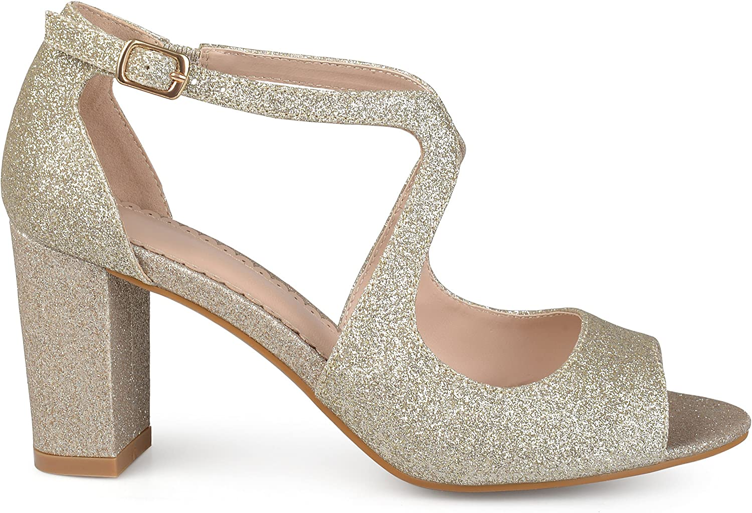 Brinley Co Womens Ayvie Glitter Intersecting Straps Block Heel Open Toe Heels