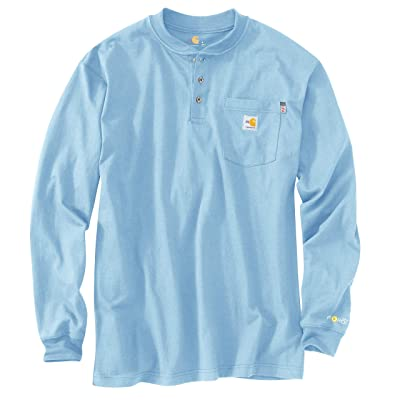 Carhartt Flame-Resistant Force(r) Cotton Long Sleeve Henley (Medium Blue) Men
