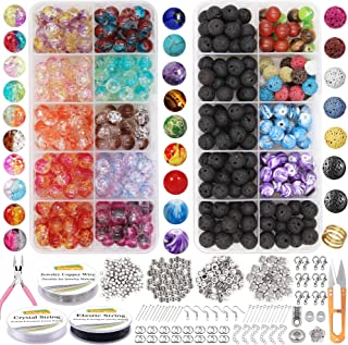EuTengHao 878Pcs Lava Beads Chakra Beads Glass le Beads Kit with Spacer Beads Jump Ring Jewelry Findings for Diffuser Esse...