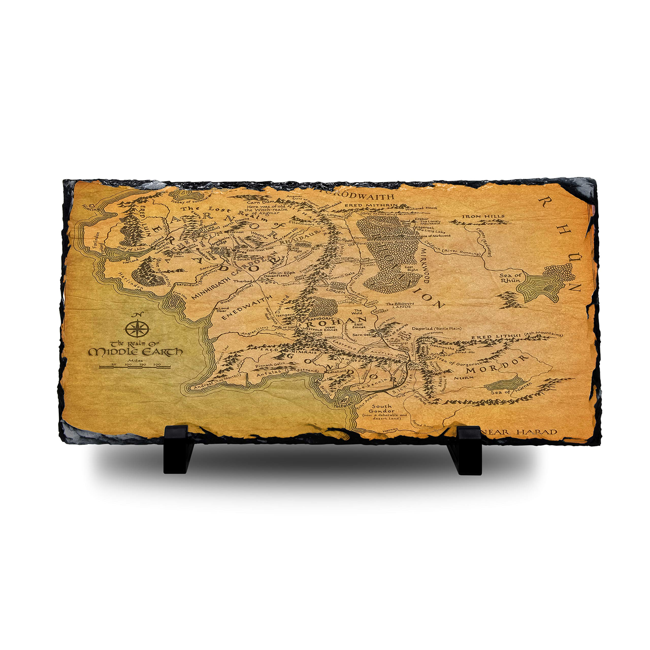ASS The Lord of The Rings – Mapa de la Tierra Media, Pizarra Natural con Soporte para TV, Escritorio, Regalo, 30x15cm: Amazon.es: Hogar