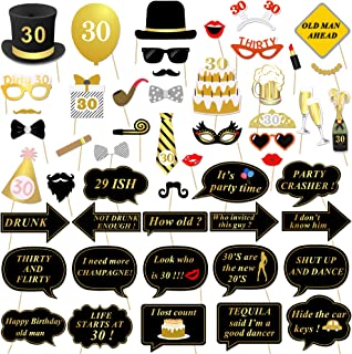 30th Birthday Party Photo Booth Props (52Pcs) for Her Him Dirty Thirty 30th Birthday Gold and Black Decorations, Konsait Big 30 Birthday Party Supplies for Men and Women