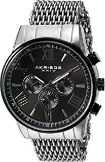 AK919 Men's Swiss Quartz Multi-Function with Silver-Tone Case with Black Sunray Dial on a Shark Mesh Stainless Steel Bracelet Watch