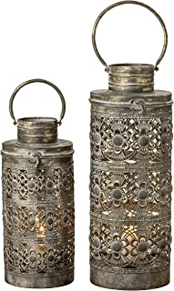 WHW Whole House Worlds Moroccan Temple Lanterns, Luxury Floor Hurricanes, Set of 2, for LED or Wax Candles, Sealed Iron, Antiqued Patina, Hinged Top, 19 and 15 Inches, The Global Chic Collection