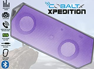 COBALTX Xpedition Rugged Portable Wireless Bluetooth Speaker 5 Hour Play Time 30FT Range Travel Speaker with Strap Hook (Purple)