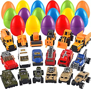 JOYIN 18 Packs Jumbo Easter Eggs with Prefilled Die-cast Vehicles Easter Basket Stuffers Easter Party Favors for Kids