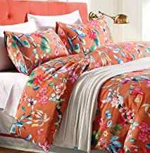 Tropical Garden Luxury 3 Piece Duvet Cover Set Island Tree Branch and Birds Multicolored Floral Pattern 100-percent brushe...