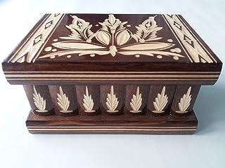 Nueva hermosa caja mágica, misteriosa caja, puzzle caja, caja secreta, hecha a mano, casilla complicado, caja de madera tallada, regalo perfecto, juguete de madera (Marron)