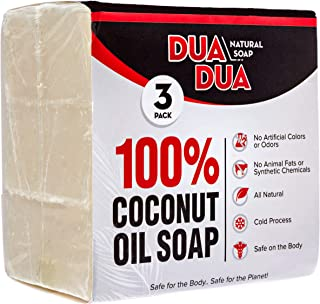 100% Coconut Oil Soap Bar   All Natural Organic Pure Cold-Pressed   Softens & Nourishes Dry Skin   3oz per bar (3 Pack)