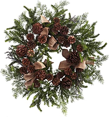 """Nearly Natural 4888 Pine & Pine Cone Wreath with Burlap Bows, 24"""" , Green/Brown"""