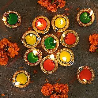 TIED RIBBONS Diya Set of 12 with Wax Handmade Terracotta Clay Diyas Oil Diya Lamp for Pooja Room Mandir Temple Home Décor ...