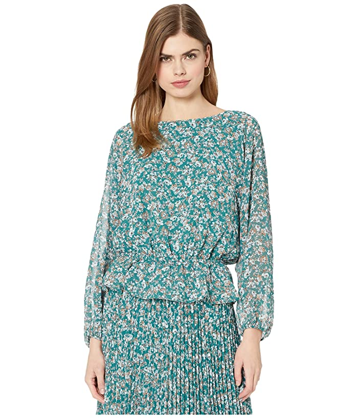 1.STATE  Long Sleeve Woodland Floral Drop Waist Blouse (Veridian Emerald Multi) Womens Clothing
