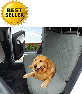Elegant Comfort Diamond Design%100 Waterproof Premium Quality Micro-Suede Bench Car Seat Protector Cover (Entire Rear Seat) for Pets - Ties to Stop Slipping Off The Bench