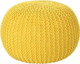 Christopher Knight Home Belle Knitted Cotton Pouf, Yellow
