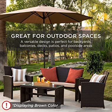Best Choice Products 4-Piece Wicker Patio Conversation Furniture Set w/ 4 Seats, Tempered Glass Table Top - Gray Wicker/Cream