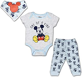 Disney Mickey Mouse 3 Pack Jogger, Onesie and Bib Set, Sleepwear Bodysuit Bundle for Baby