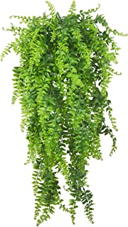 Artificial Plants Vines Ferns Persian Rattan Fake Hanging Plant Faux Hanging Boston Fern Flowers Vine Outdoor UV Resistant Plastic Plants for Wall Indoor Hanging Baskets Wedding Garland Decor-2 pcs