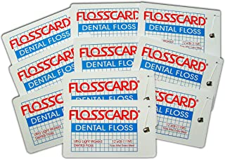 FLOSSCARD (10 Pack) 12 Yards of Dental Floss in a Credit Card Shaped Dispenser