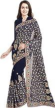 Women Faux Georgette Bridal Wedding Saree Mirchi Fashion Indian Sari(5240_Black)
