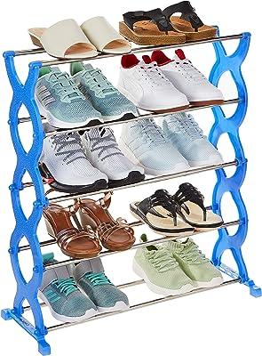 Amazon Brand - Solimo Shoe Rack, 5 Shelves, Blue