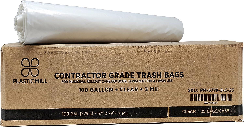 Max 67% OFF PlasticMill 100 Gallon cheap Contractor Bags: Clear 67x79 Mil 3 25