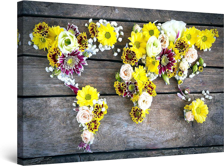 Startonight Canvas Wall Art Abstract - Amst World 並行輸入品 in ◆セール特価品◆ Flowers Map