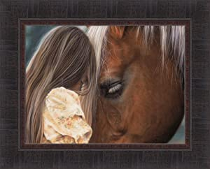 in Their Own World by Lesley Harrison 17x21 Girl and Horse with Their Heads Together Framed Art Print Wall Décor Picture
