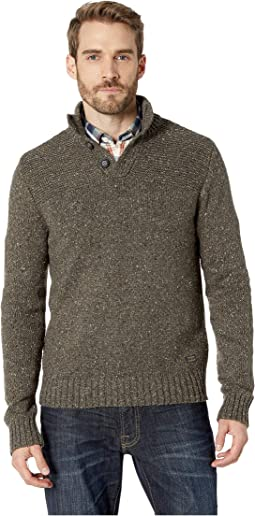 Donnegal Button Mock Neck Sweater