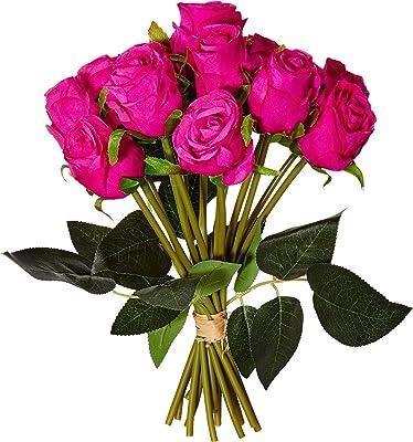 Fourwalls Decoration Artificial Rose Flower Bunches (26 cm Tall, 15 Heads Flowers, Dark/Pink) + Range Artificial Camelia Plant Ceramic Vase (ABT59CMCAMELIA/144LVS/11050/PK)
