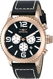 """Invicta Men's 1429 """"II Collection"""" 18k Rose Gold-Plated Stainless Steel and Black Leather Watch"""