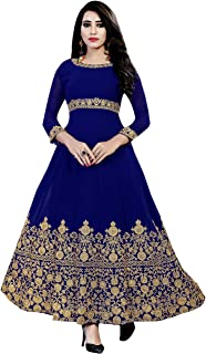 Ethnic Empire Women's Faux Georgette Semi Stitched Salwar Suit(Empire_ER10819_ Blue_Free Size)