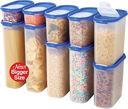 Food Storage Containers Set -STACKO- 20 PC. SET - Airtight Dry Food Container with POURING LIDS - Durable Clear Frosted Plastic BPA Free - Space Saver Modular Design - 10 Container set
