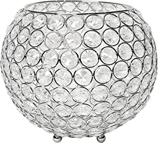 Benzara Deco 79 87374 Glass Mirror Crystal Candle Holder 4 x 14