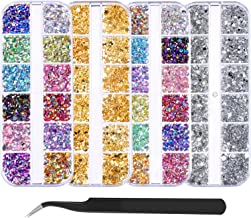Bememo 5900 Pieces (4 Boxes) Nail Art Rhinestones Kit Nail Rhinestones with 1 Piece 1 Pick up Tweezers, Multicolor Nail Studs Horse Eye Rhinestones for Nail Art Decorations Supplies