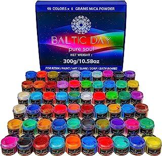 Mica Powder – 60 Colors Resealable Jars [300g/10.58oz] Set – Epoxy Resin Color Pigment – Cosmetic Grade – Colorant for Soa...