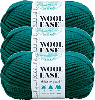 (3 Pack) Lion Brand Yarn 640-171 Wool-Ease Thick and Quick Yarn, 97 Meters, Peacock