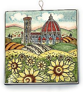 CERAMICHE D'ARTE PARRINI- Ceramica italiana artistica, mattonella decorazione paesaggio girasoli, fatta a mano made in ITA...
