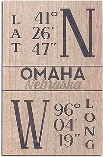 Lantern Press Omaha, Nebraska - Latitude and Longitude (Blue) (12x18 Wood Wall Sign, Wall Decor Ready to Hang)
