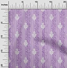 oneOone Viscose Jersey Light Purple Fabric Stripe,Leaves & Floral Block DIY Clothing Quilting Fabric Print Fabric by Meter...