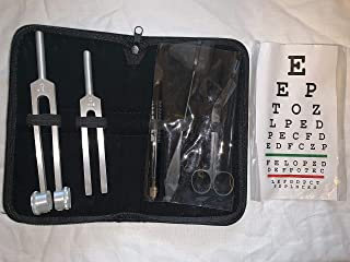 Tactical Black Set of 5 pcs Reflex Percussion Taylor Hammer, Penlight, Tuning Fork C 128 C 512, Bandage Scissors 5.5 inches,and Snellen Pocket Eye Chart