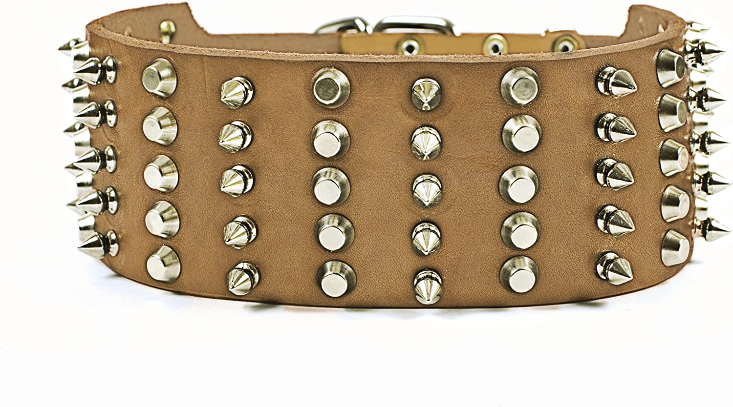 Dean and Tyler WIDE HEAVEN , Extra Wide Dog Collar with Nickel Spikes and Studs  Tan  Size 36Inch by 23 4Inch  Fits Neck 34Inch to 38Inch