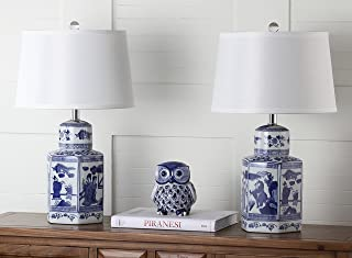 Safavieh Lighting Collection Judy White & Blue Table Lamp (Set of 2), 23.5