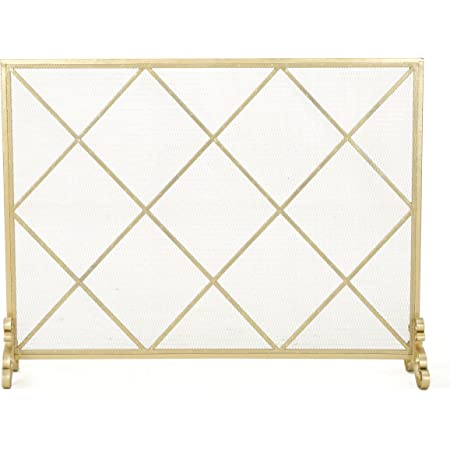 Christopher Knight Home Howell Single Panel Iron Fireplace Screen, Gold