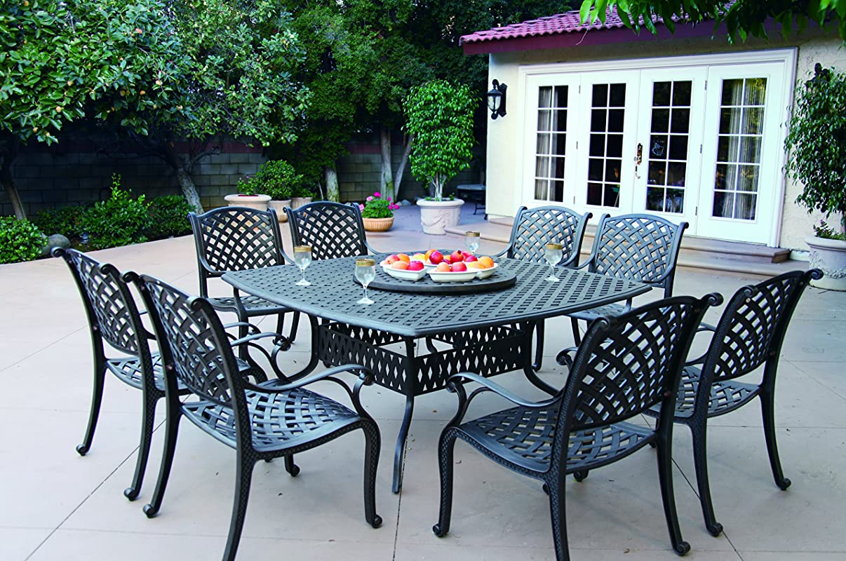 Darlee Nassau Cast Aluminum 10-Piece Dining Set with Seat Cushions, 64-Inch Square Dining Table and 30-Inch Lazy Susan, Antique Bronze Finish