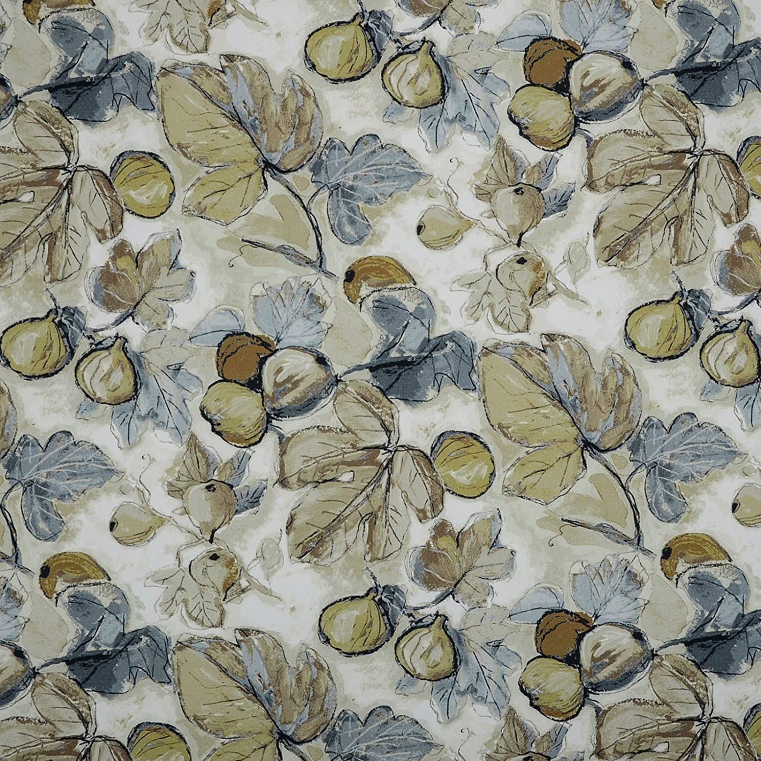 OFFicial Slate Blue Beige Contemporary Max 54% OFF Floral by Upholstery Print Fabric