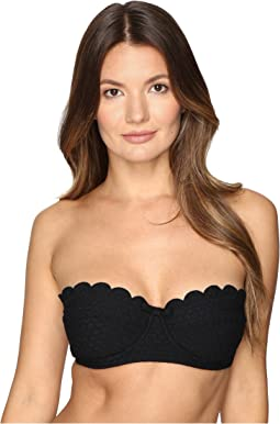 Kate Spade New York Marina Piccola Scalloped Bandeau Bikini Top