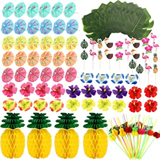FiGoal 136 PCS Hawaiian Party Decorations Palm Leaves, Paper Pineapple, Umbrella Food Toppers and 3D Fruit Straws Luau Par...