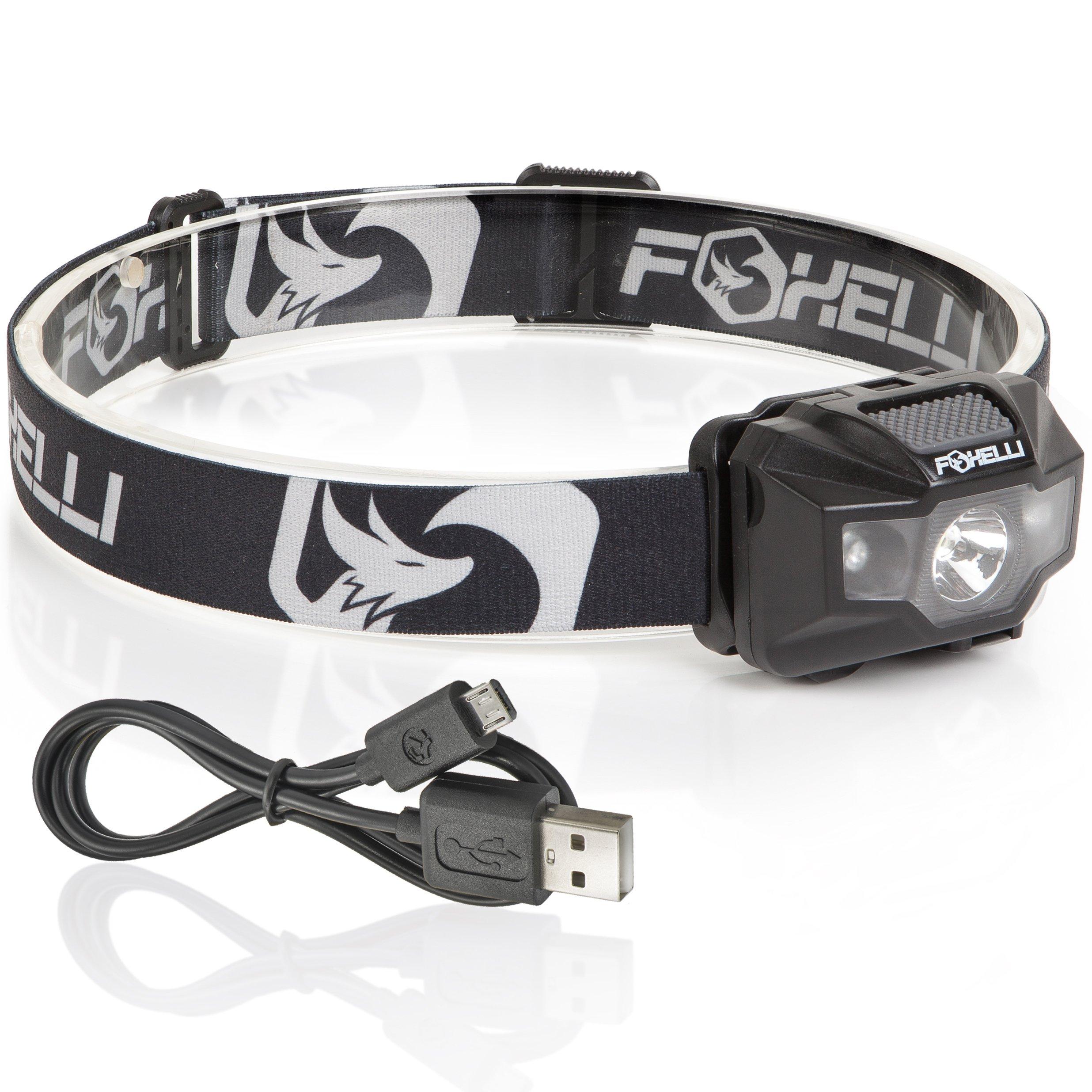 Foxelli USB Rechargeable Headlamp Flashlight