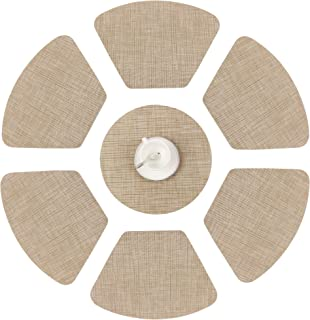 "famibay 6 Pack Wedge Placemats with 1PC 13.8"" Round Placemats for Round Table Heat Insulation Stain-Resistant PVC Woven Place Mats Non-Slip Washable Table Mats Set of 7 Beige"